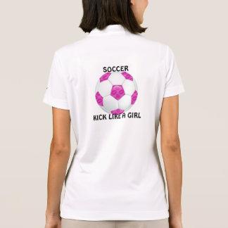 Pink Lipstick Kisses Pink Soccer Ball Polo Shirt