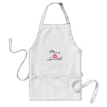 Pink Lipstick Smudge Personalized Mrs Adult Apron