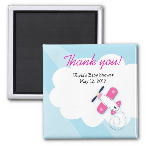 Pink Little Aviator Baby Shower Favor Magnet
