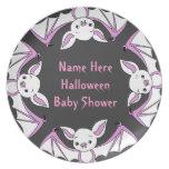 Pink Little Bat Baby Shower Plates