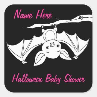 Pink Little Bat Halloween Baby Shower Stickers