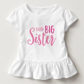 Pink Little Big Sister Toddler Ruffle Tee