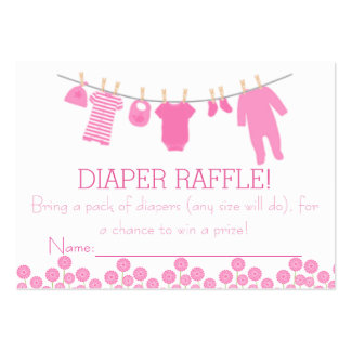 Pink Little Clothes Diaper Raffle Tickets Large Business Cards (Pack Of 100)