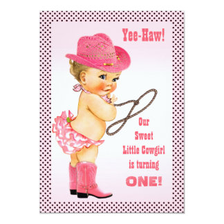 Pink Little Cowgirl Polka Dots 1st Birthday Card