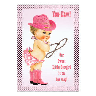 Pink Little Cowgirl Polka Dots Baby Shower Card