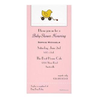 Pink Little Ducky Baby Shower Invitation