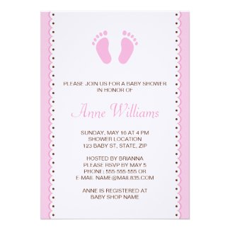 Pink little feet girls baby shower invitation