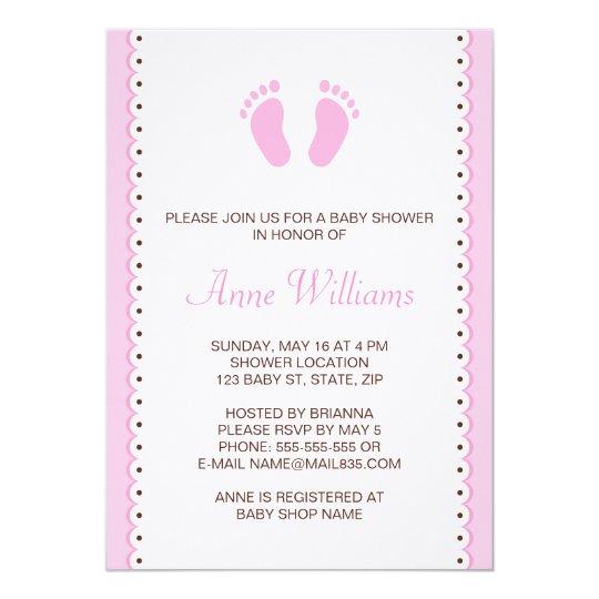 Pink little feet girls baby shower invitation