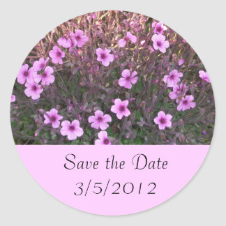 Pink Little Flowers Save the Date Classic Round Sticker
