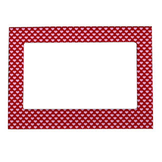 Pink Little Heart Pattern with Red Background Magnetic Picture Frame