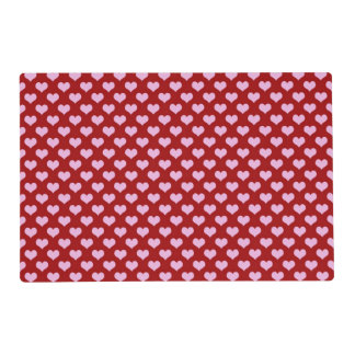 Pink Little Heart Pattern with Red Background Placemat