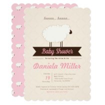 Pink Little Lamb Baby Girl Shower Invitation