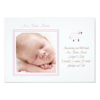 Pink Little Lamb Birth Announcement