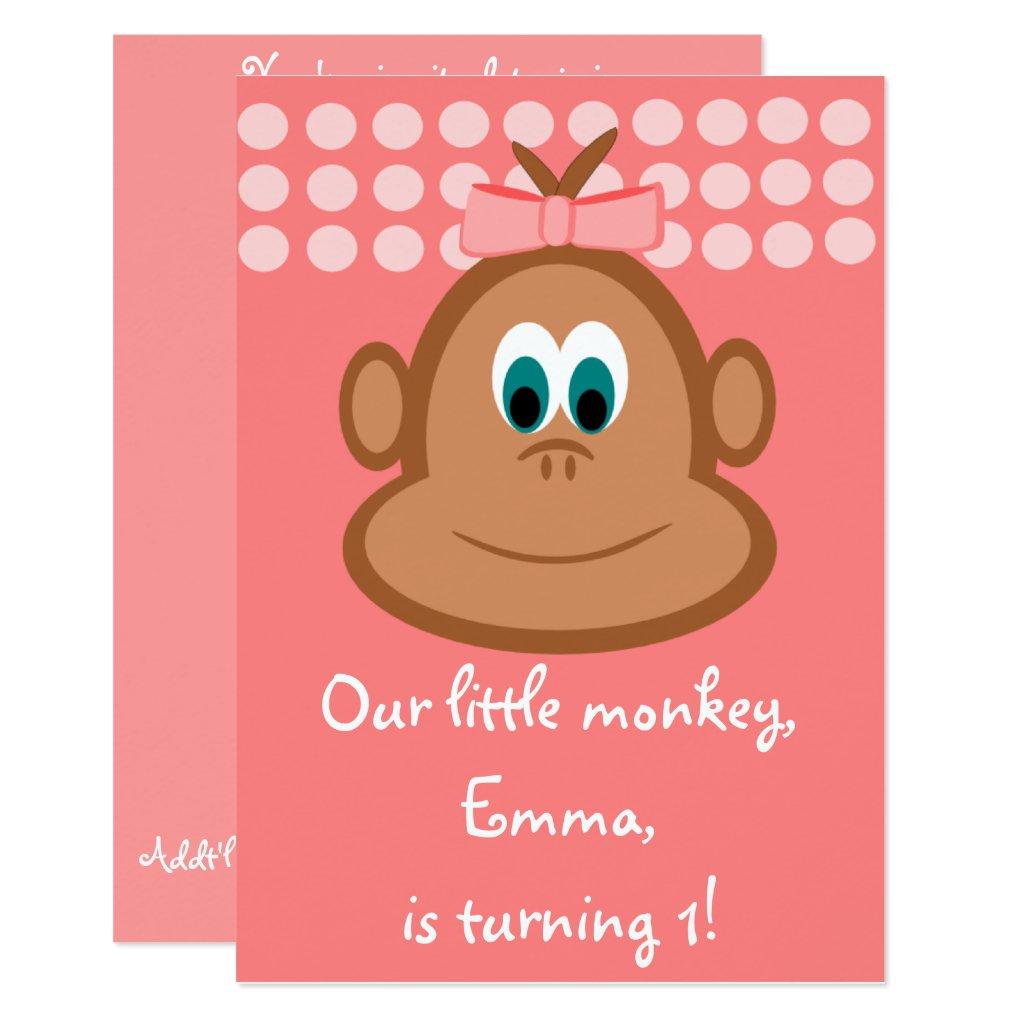 Pink Little Monkey Children's Birthday Invitations