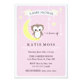 Pink Little Owl | Baby Shower Invitation