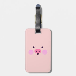 Pink Little Piggy Luggage Tag w/ leather strap