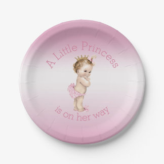 Pink Little Princess Baby Shower Paper Plate