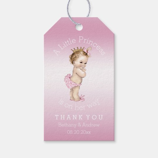 pink little princess baby shower personalized gift tags zazzle