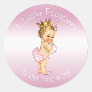 Pink Little Princess Pearls Baby Shower Classic Round Sticker