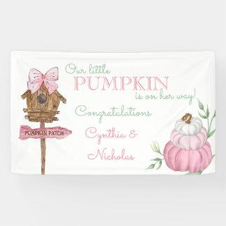Pink Little Pumpkin Patch Girl Baby Shower Banner