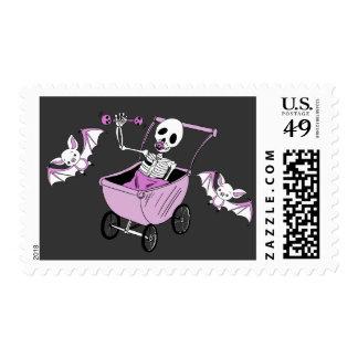 Pink Little Skeleton Baby Shower Postal Stamps