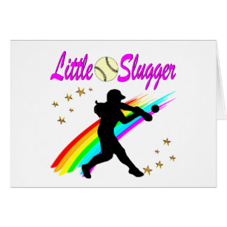 PINK LITTLE SLUGGER SOFTBALL GIRL DESIGN CARD