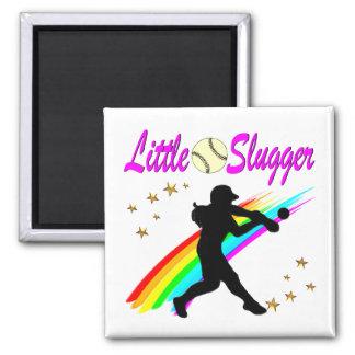 PINK LITTLE SLUGGER SOFTBALL GIRL DESIGN MAGNET