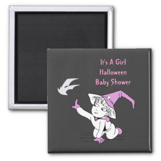 Pink Little Witch Baby Shower Favor Magnets
