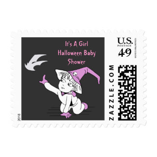 Pink Little Witch Baby Shower Postal Stamps