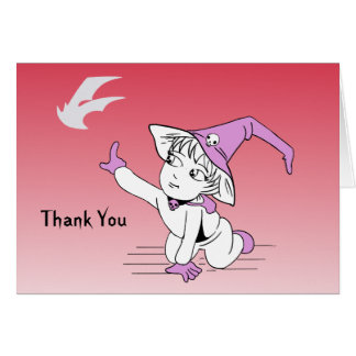 Pink Little Witch Baby Shower Thank You Notes Card