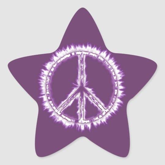 Pink Live Electric Energy Peace Sign Star Sticker