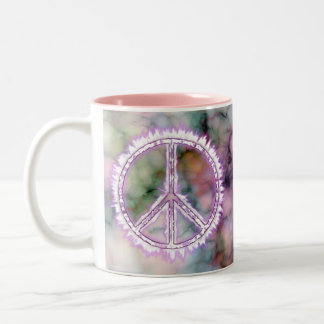 Pink Live Electric Energy Peace Sign Two-Tone Coffee Mug