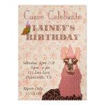 Pink Llama Birthday Invitation