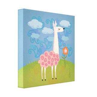 Pink Llama on Hilltop Canvas Print