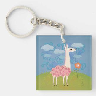Pink Llama on Hilltop Keychain