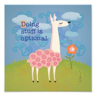 Pink Llama on Hilltop Square Art Print Photograph
