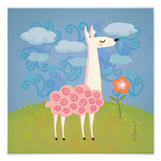 Pink Llama on Hilltop Square Art Print Photo