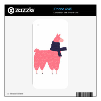Pink Llama Wearing a Scarf Decal For iPhone 4