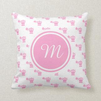 Pink Logo Pattern White BG Monogram Throw Pillow