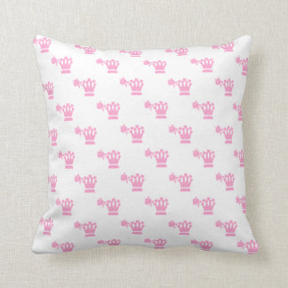 Pink Logo Pattern White BG Throw Pillows