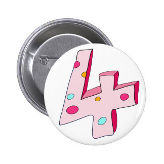Pink Lolly 4 Birthday Button