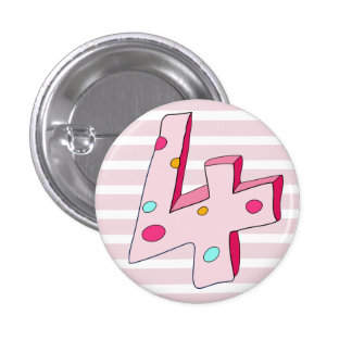 Pink Lolly 4 Striped Birthday Button