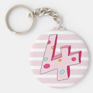 Pink Lolly 4 Striped Birthday Keychain