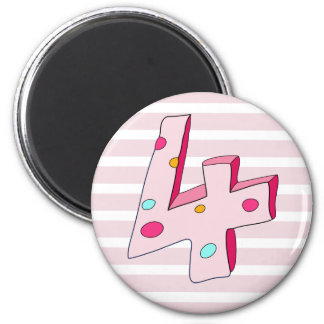 Pink Lolly 4 Striped Birthday Magnet