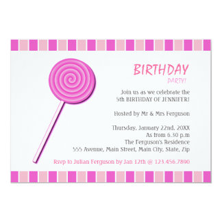 Pink Lollypop 5x7 Paper Invitation Card