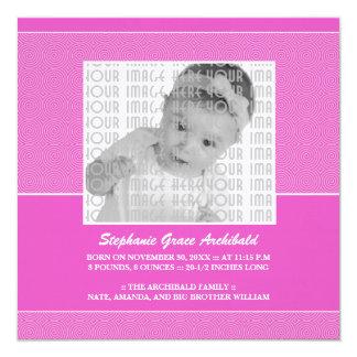 Pink Lollypop Pattern Birth Announcement