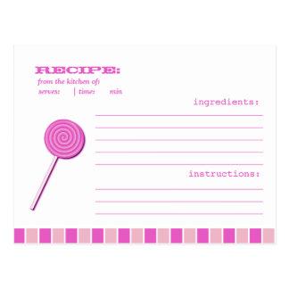 Pink Lollypop Recipe Postcard