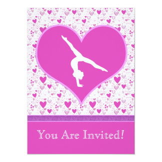 Pink Lots o' Hearts Gymnast Card
