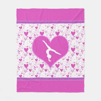 Pink Lots o' Hearts Gymnast Fleece Blanket