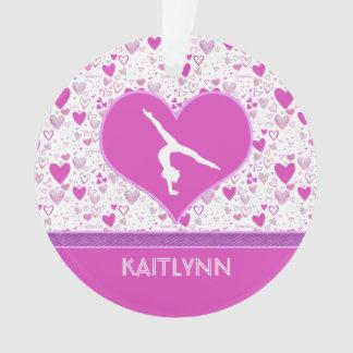 Pink Lots o' Hearts Gymnast w/ Monogram Ornament